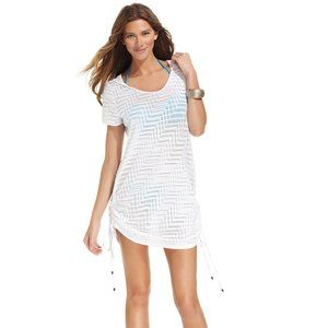 Dotti Cover-Up Short-Sleeve Hooded Self Tie Dress